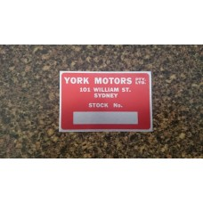 York Motors Stock Plate