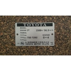 Toyota 2T Engine Build Plate
