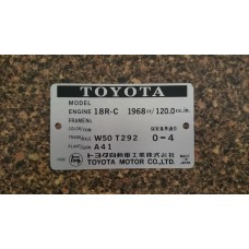 Toyota 18R Engine Build Plate